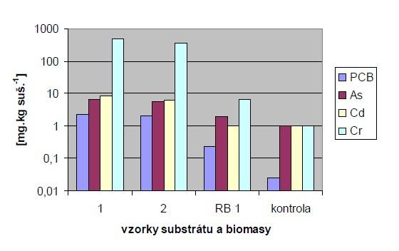 Reálné hodnoty srovnání vlivu zatížení rostlin rákosu kontaminujícími látkami s kontrolním vzorkem a dvěma vzorky kalových substrátů