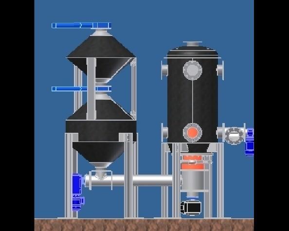 Nákres přetlakového zplyňovacího reaktoru D.S.K., spol. s r.o.