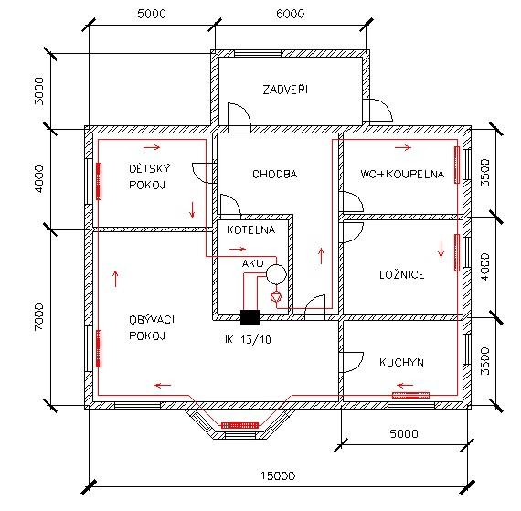 Příklad realizace rodinného domu s tepelnou ztrátou 18 kW