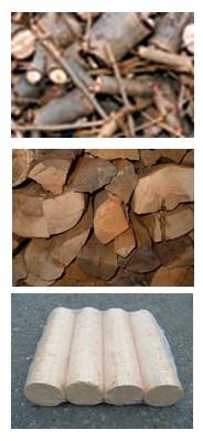 Palivo: štěpka, kusové dřevo, brikety