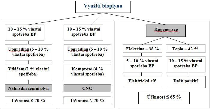 Srovnání energetického využití bioplynu