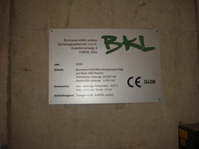 Spalovna dřevního odpadu (kůra) s výrobou tepla a elektřiny Leoben