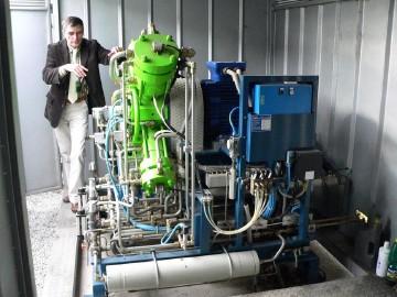 Ilustrační foto části laboratorního zařízení pro úpravu bioplynu s využitím metody vysokého tlaku