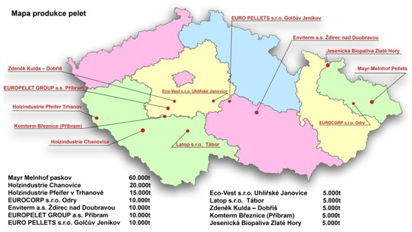 Mapa produkce pelet