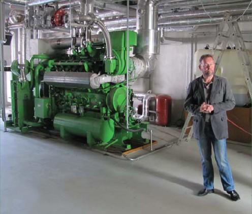 Strojovna s kogenerační jednotkou Jernbacher pro kombinovanou výrobu tepla a elektřiny