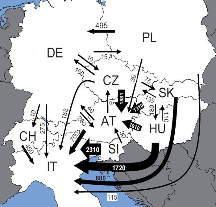 Přeshraniční obchod s palivovým dřevem ve střední Evropě (v TJ/rok, toky menší než 10 TJ nejsou zachyceny)