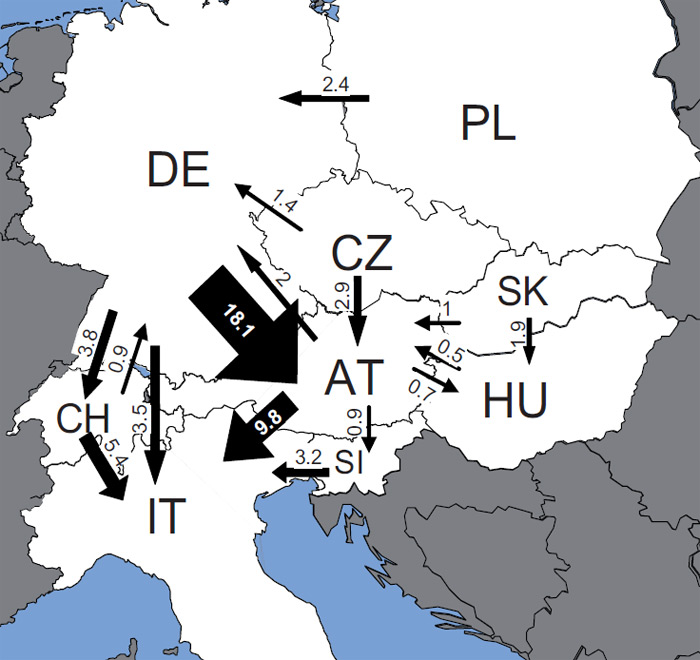Přeshraniční obchod se štěpkou, pilinami, peletami atd. ve střední Evropě v roce 2006 (v PJ/rok; toky menší než 0,5 PJ/rok nejsou zachyceny)