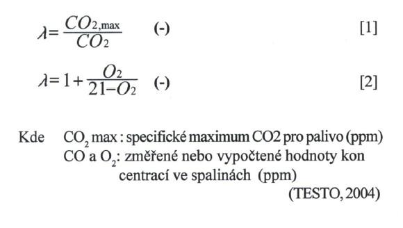 Výpočet přebytku vzduchu