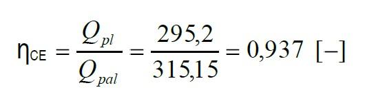 ŋCE je definována poměrem chemické energie plynu na výstupu z generátoru k energii původního paliva na vstupu do generátoru vypočteným za referenčních podmínek (0 °C, 101,325 kPa)