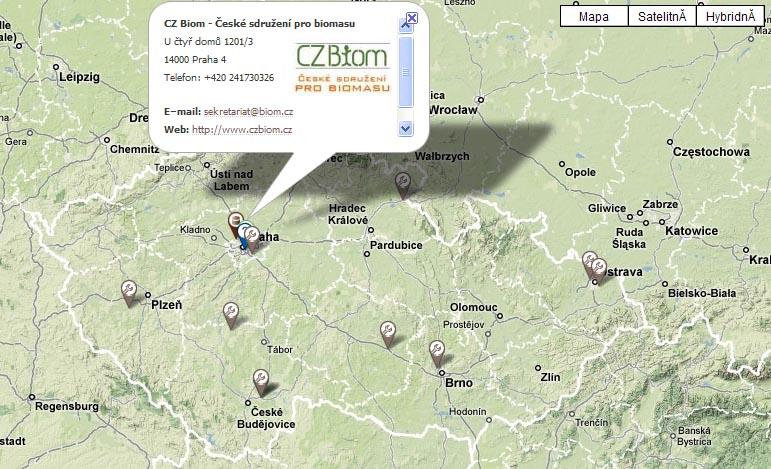 Mapa bioplynových stanic v ČR - firmy