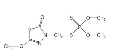 Chemická struktura pesticidu Methidathion (dostupné z: www.alanwood.net)