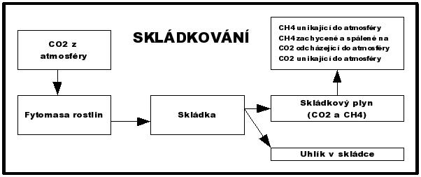 Toky uhlíku při skládkování biologicky rozložitelných odpadů (Smith et al. 2001)