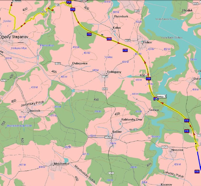 Mapa se zobrazením dopravy trávy získané při údržbě dálnice