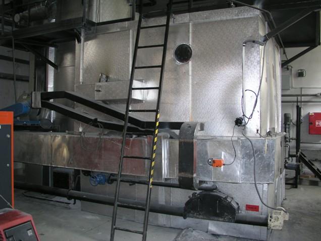 Teplovodní kotel pro spalování biopaliv na bázi rostlinných surovin s instalovaným výkonem 1 MW  (Tractant Fabri)