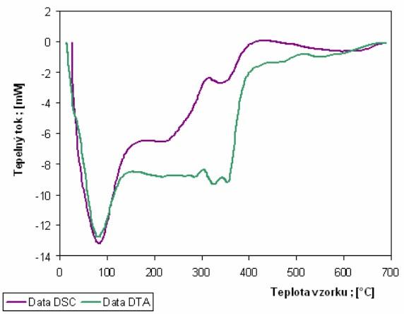 Porovnání křivek DTA a DSC pořízených za stejných podmínek (rychlost 20 K/min) u vzorku ječných plev