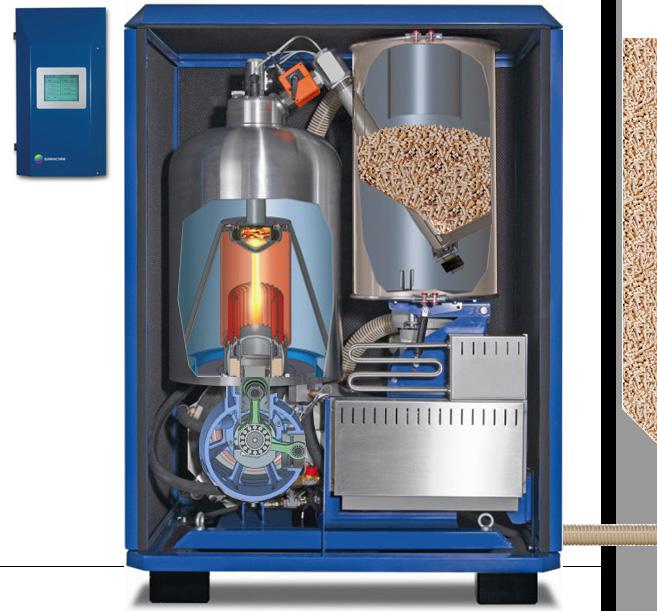 Stirlingův motor s automatickým kotlem na pelety, zdroj: Sunmachine GmbH