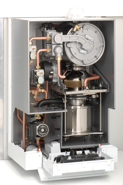 Stirlingův motor s plynovým kondenzačním kotlem, zdroj: Viessmann