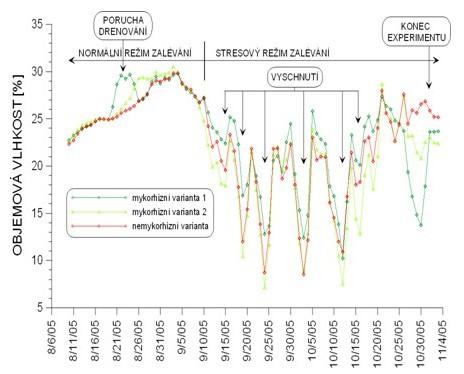Časová řada – 1. experiment: kontinuální měření hodnot objemové vlhkosti