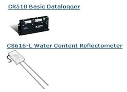 Zařízení na měření vlhkosti: CR 510 – datová sběrnice, CS 616-L –  sonda metody TDR (firma Campbell Scientific Inc.)