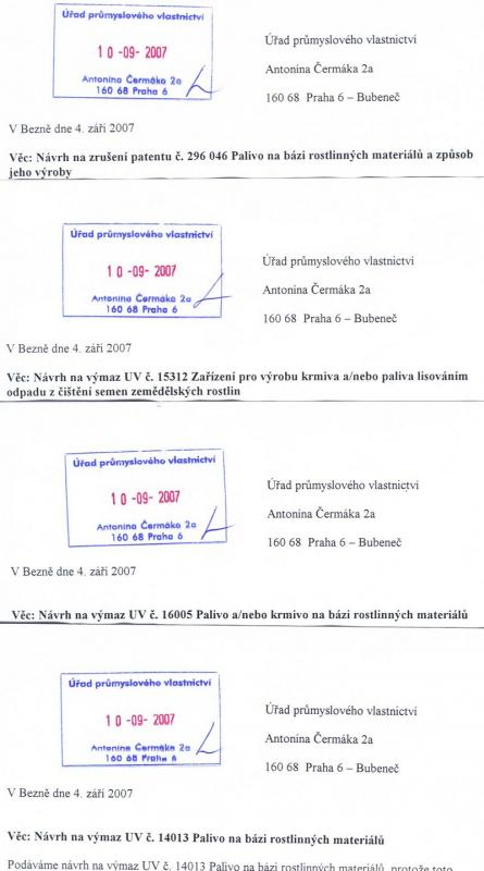 Žádosti o zrušení patentu a výmaz tří užitných vzorů
