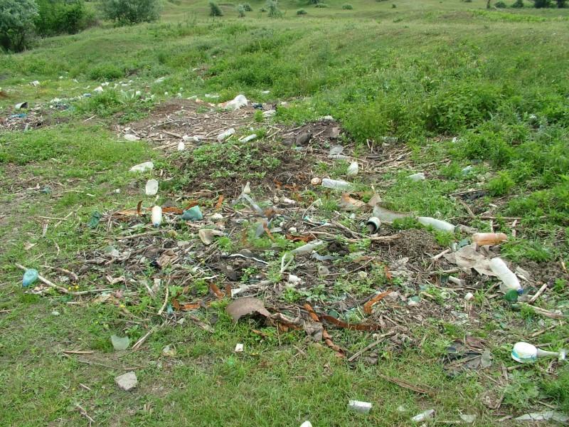 Divoká skládka odpadů postupně zarůstající trávou a plevelem